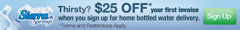 $25 off Sierra Springs® water delivery
