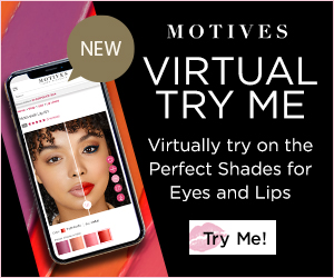 Image for (MC) New! Motives Cosmetics Virtual Try Me - Virtually try on the Perfect Shades for Eyes and Lips.  New Customers get 25% Off first purchase w/ code FIRST25OFF.  300x250