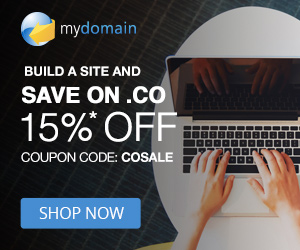 Save 15% on .CO domain names at MyDomain! Use code: COSALE at checkout. Valid 9/1 through 9/30/18. S