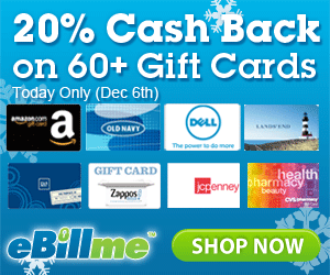 20% Cash Back on Gift Cards