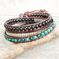 Leather Wrap Bracelet with Onyx Serpentine and Silver