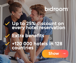 25% discount + Extra benefits + more than 120,000 hotels in 128 countries with Bidroom.com