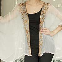 Off White Shrug with Floral Beadwork One Size Fits Most