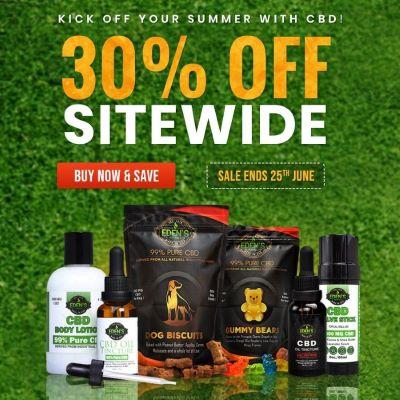 Banner announcing Eden's Herbals 30% off sitewide sale