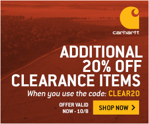 Save an additional 20% on clearance items at Carhartt!