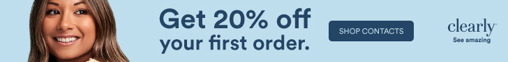 New Clearly Customers get 20% off your first order of contacts! Shop with code: NEWT8M3R