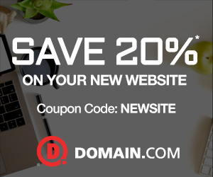 Limited Time Offer! Save 20% off new products and services at Domain.com! Use code: NEWSITE. Valid t