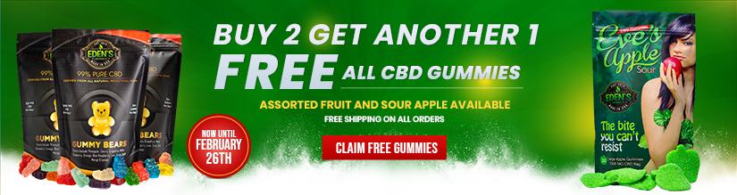 Banner announcing Eden's Herbals Buy 2 Get 1 Free All Gummies Sale