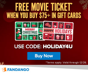 Spend $75+ in Gift Cards and get a FREE Movie Ticket