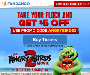 300x250 Fandango: Get $5 off two or more tickets with promo code ANGRYBIRDS2