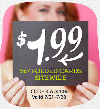 Affiliate Exclusive! $1.99 5x7 Folded Cards Sitewide + FREE Stamp when we mail it for you at Cardsto