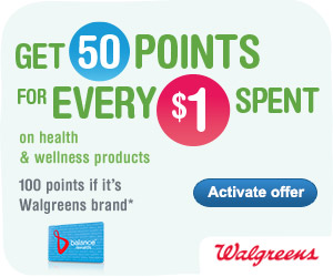 Get 50 Balance Rewards points for every $1 spent on health & wellness products (100 points if it's W