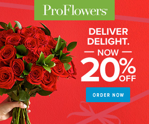 Valentine's Day Gifts for her - 20% off Valentine's Day Flowers & Gifts at ProFlowers (min $29) - 300 x 250