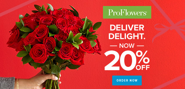 ProFlowers promo code 20% off Valentine's Day Flowers & Gifts at ProFlowers (min $29) - 620 x 298