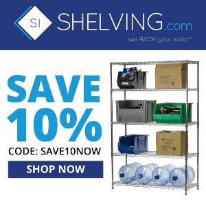 Shelving Inc. - 300×300 Shelving.com 10% Off Coupon