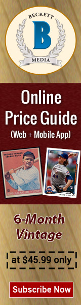 Get 6 Months Vintage Card Online Price guide Subscription for $45.99