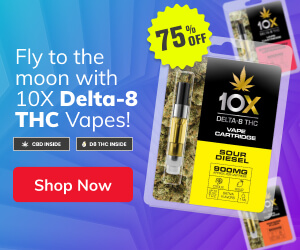 Fly to the moon with 10X Delta-8 THC Vapes!