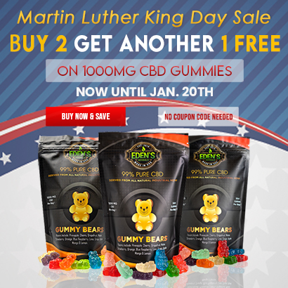 Banner announcing Eden's Herbals MLK Day Sale; Buy 2 Get 1 Free on 1000mg CBD Gummies