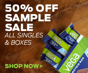 Vega® 50% Off Sample Sale- Includes All Singles & Boxes While Supplies Last!