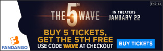 Buy 5 Tickets and get the 5th Free to see The 5th Wave Movie