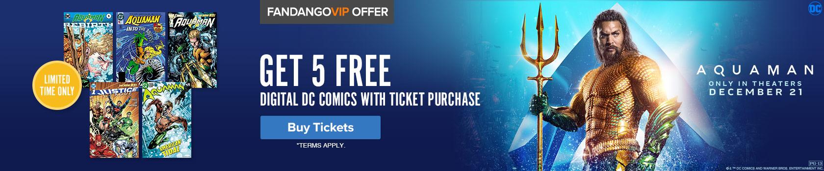 1680 x 350 Fandango - Aquaman GWP: Get 5 free digital DC comics with ticket purchase