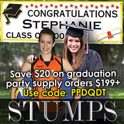 Get $20 off on Graduation Decor from Stumps!