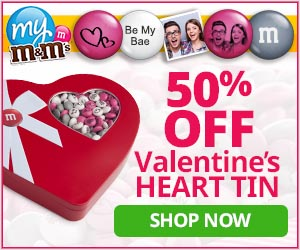 Get 50% Off Valentine's Chocolate Heart Tin at My M&M'S, now through 1/28/17 with code CUPID17