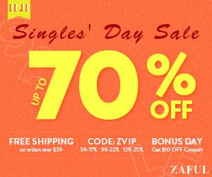 Zaful 11.11 Big Sale: $59-17%, $99-22%, $129-25%