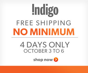 Free Shipping, No Minimum! 4 Days Only, Oct. 3-6th at Chapters.Indigo.ca.