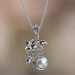 Floral Sterling Silver Amethyst and Pearl Pendant Necklace