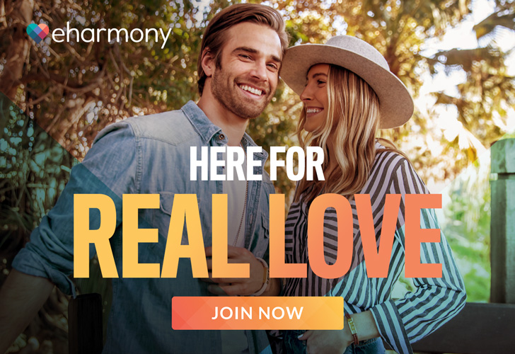 Find Something real with eharmony - 728x500