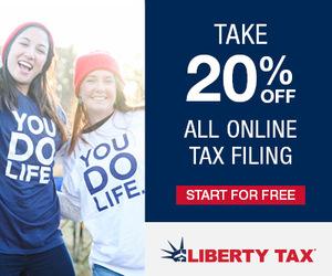 Take 20% Off All Online Tax Filing at Liberty Tax!