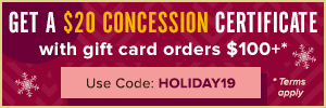 300x100 This Holiday Season, Get a $20 Concession Certificate with Gift Card Orders of $100+. Use co
