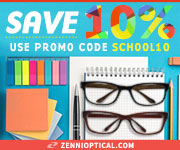 Save 10% when you Shop Back to School at Zenni Optical! Use code: SCHOOL10. Valid 7/28/14-8/15/14.