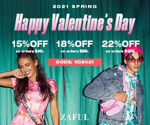ZAFUL V-Day Special Offer: $49-15%, $89-18%, $129-22% with code