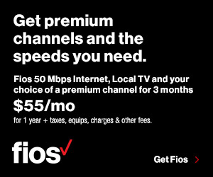 Fios 50/50 Data + Local TV + Premium Channel for $50/mo at Verizon Broadband for Free