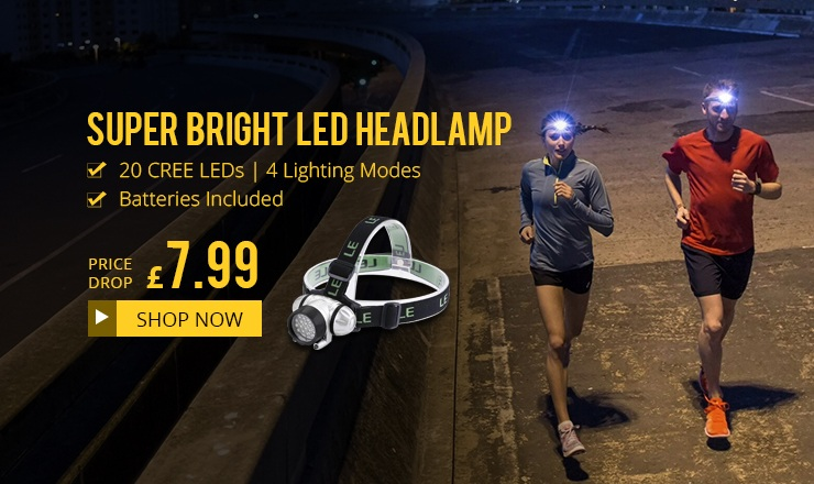 Only £7.99 for Super Bright LED Headlamp