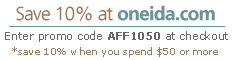Save 10% at Oneida.com
