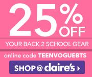25% off Back to School items with code TEENVOGUEBTS. Expires 9/30.