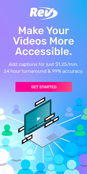 Want to make videos accessible? Add captions for just $1.25/min. 24 hour turnaround & 99% accuracy