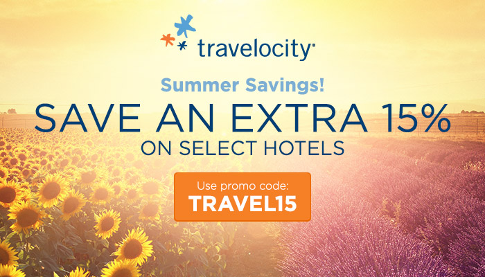travelocity Summer Savings! Save an extra 15% on select hotels with promo code TRAVEL15