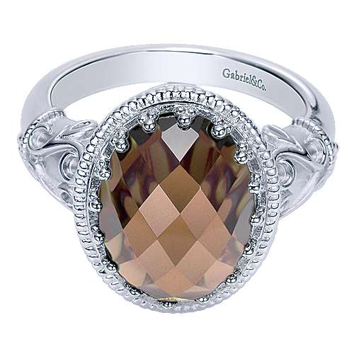 Influencer Jewelry Product: 925 Sterling Silver Oval Smoky Quartz Ring