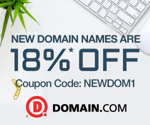 New Domain Names are 18% off at Domain.com! Use Code: NEWDOM1. Start Now!
