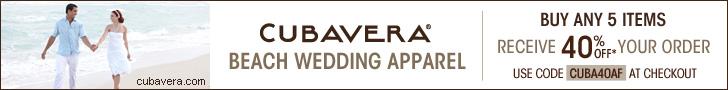 CUBAVERA 728x90 Beach Wedding Apparel 40% Off