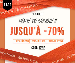Zaful FR: VIP Day 55€-18%, 85€-23%, 115€-28% with code: 12VIP Time: 11/08-11/16