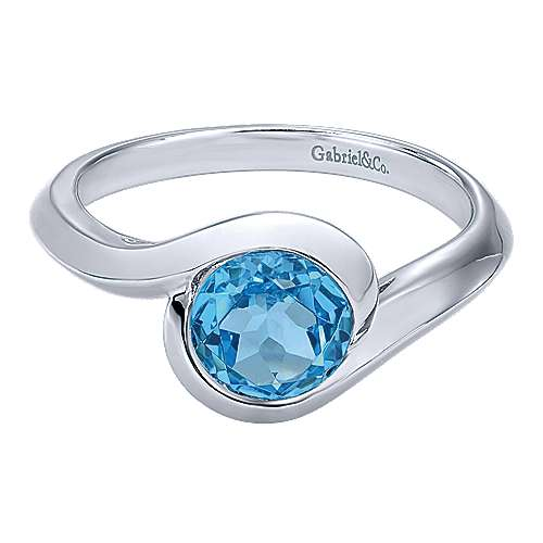 Influencer Jewelry Product: 925 Sterling Silver Round Blue Topaz Bypass Ring