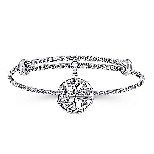 Influencer Jewelry Product: Adjustable Twisted Cable Stainless Steel Bangle with Sterling Silver