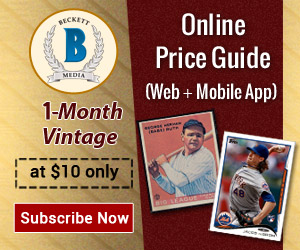 Get 1 Month Vintage Card Online Price guide Subscription for $10