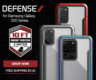 Defense Brand Samsung Galaxy S20 Series banner with free shipping callout and drop tested callout.