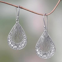 Lacy Handcrafted Sterling Silver Earrings from Bali